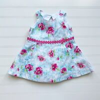 Janie and Jack Pink Blue Floral Sleeveless Dot Appliqué Dress Baby 3-6 Months