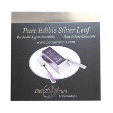 "DeiAurum: Pure Edible Silver Leaf Sheets, Booklet, 4""x4"", 25pcs, in Loose Sheets"