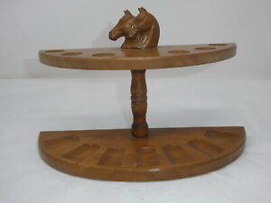 VINTAGE WOOD TWO HORSE HEADS 7 PIPES RACK HOLDER