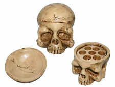 Demon Skull Tattoo Ink Cap Holder - Heavyweight Solid Bone Design 7 Large C
