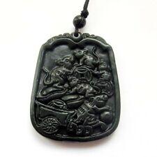 Five Rats Money Amulet Pendant Black Green Jade Happy Lucky