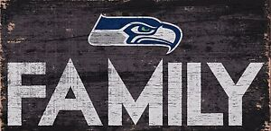 """Seattle Seahawks FAMILY Football Wood Sign - NEW 12"""" x 6""""  Decoration Gift"""