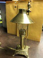 "PARIS Oriental Express Desk Brass Lamp & Shade With Glass Globe 12 1/4"" Tall"
