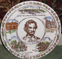 MARK TWAIN Historic Brown Transferware Vintage Plate - very good condition