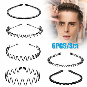 6PCS Metal Hair Headband Wave Style Hoop Band Comb Sports Hairband for Men Women