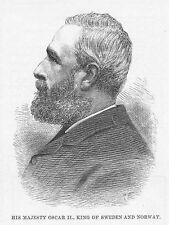 OSCAR II King of Sweden & Norway - Antique Print 1888