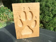 "Wolf Foot Print Routered Carved Solid Fir Board 7"" x 5"""