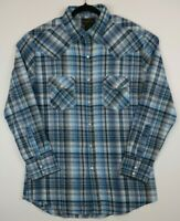 High Noon Mens Size Medium Pearl Snap Blue Plaid Check Flannel Western Shirt