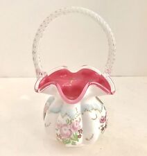 "Fenton Connoisseur Collection 1999 Limited Edition ""Roses on Peach Crest"" Basket"