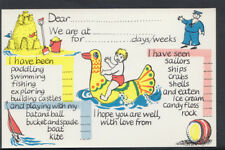 Greetings Postcard- Holiday Message Card - Sandcastle / Inflatable / Sailor A539