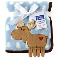 Hudson Baby Boy Coral Fleece 3-D Animal Blanket, Blue