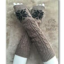 Taupe Snowflake Houndstooth Cable Knit Arm Warmers Fingerless Sweater Gloves