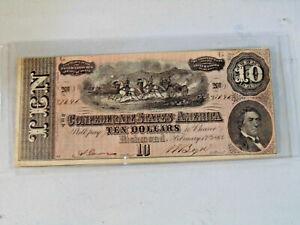 1864 $10.00 Richmond Confederate States of America Note