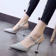 Womens Sequins Pointed Toe Slingback High Heels Sandals Strap Buckle Party Shoes