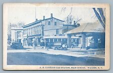 WALDEN NY A.B. GARRISON GAS STATION MAIN STREET ANTIQUE POSTCARD
