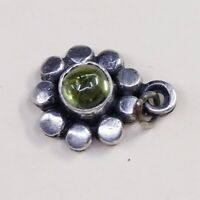 Vintage sterling silver handmade pendant, 925 flower Charm W/ Green Glass