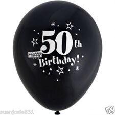 "Black 50th Birthday Balloons 8 -12"" Round Latex"