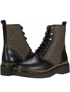 Michael Kors Haskell Leather Combat Boots Black + Brown Size 6.5 New In Box $200