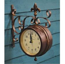 Bronze Station Wall Clock & Garden Thermometer Double Round Metal Outdoor Indoor