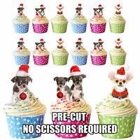 PRECUT Dogs Christmas Chihuahua Santa Hats 12 Edible Cupcake Toppers Decorations
