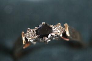 9CT SAPPHIRE AND DIAMOND RING