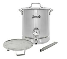 BREWSIE Stainless Steel Home Brew Kettle Set Thermometer, Ball Valve, Mash Tun