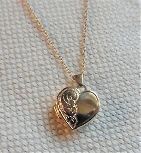 9ct Half Engraved Heart Shaped Locket And Chain