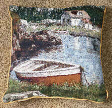 "Alpine Solitude Mountain Cabin & Boat 17"" Tapestry Pillow"