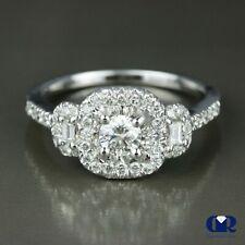 Natural 0.68 Ct Round Cut Diamond Halo Engagement Ring 14K White Gold