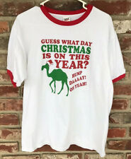 Vintage Ringer T-Shirt Mens L Camel Guess What Day Christmas Is On? Hump Day!