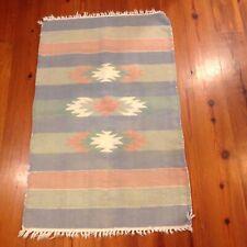 "Vintage Indian Native American Style Rug 27x43"" Pastel Rose Blue Sage Off White"