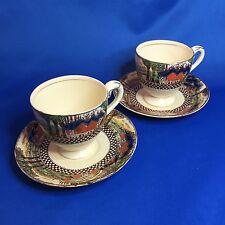 Rare Alexander Potteries England's Countryside Demitasse Cups Saucers Myott Son