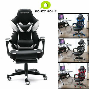 Gaming Chair Racing Style Leather Office Recliner Computer Seat Swivel Footrest*