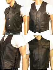 Mens Motorcycle Biker Waistcoat Vest Full Real Leather Black Choose Style & Size