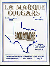 1998 Texas State AAAA Final Championship Game Program La Marque v Stephenville