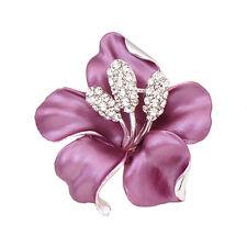 Lila mit Weißem Strass Diamant Elegant Anstecker Blume Brosche BR166
