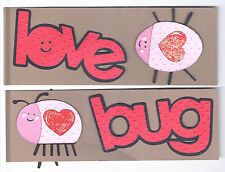 LOVE BUG Title & 2 Bugs with Hearts Embellishments - Valentine Assembled Die Cut