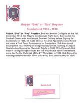 BOB or ROY ROYSTON SUNDERLAND 1935 - 1936 RARE ORIGINAL HAND SIGNED CUTTING/CARD