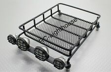 RC Toy Truck Crawler Luggage Long Roof Rack w/ 4 white LED Lights Chromed Pods
