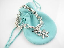 Tiffany & Co Silver RARE Snowflake Snow Flake Charm Bracelet Bangle Triangular!