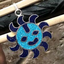Designer Lapis Lazuli  Turquiose 925 Solid Sterling Silver Sun Pendant 45mm