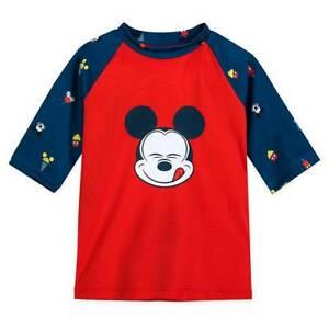 NWT Disney Store Mickey Mouse Rash Guard Top Swim Shirt Boy UPF 50+ Red
