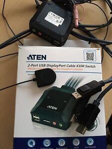 ATEN CS22DP 2-Port USB DisplayPort KVM Switch Adapter Umschalter Kabel