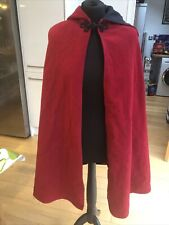 Hand Made Red Wool Hooded Cape Hip Length Size 8/10