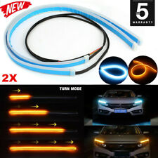 2Pcs 60CM LED Car DRL Daytime Running Lamp Strip Light Flexible Soft Tube NEW JO