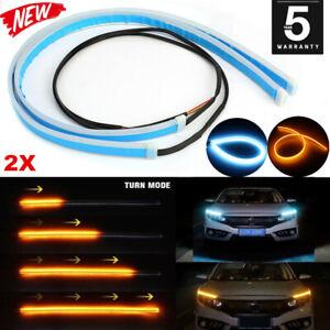 2Pcs 60CM LED Car DRL Daytime Running Lamp Strip Light Flexible Soft Tube NEW JO