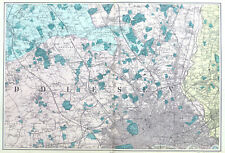 NORTH WEST LONDON & SUBURBS, 1886  - Original Large 1 Inch Antique Map, Bacon.