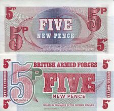 GREAT BRITAIN 5 New Pence World Money MILITARY Voucher pM36 British Armed Force