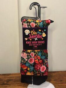 Halloween Dia de los Meurtos Black Knee High Socks Flowers Plants Size 9-11