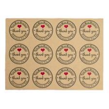 """5Pc Retro Runde Papier Etiketten """"Danke"""" Hand Made Sticker mit Liebe """"Han_Sale"""
